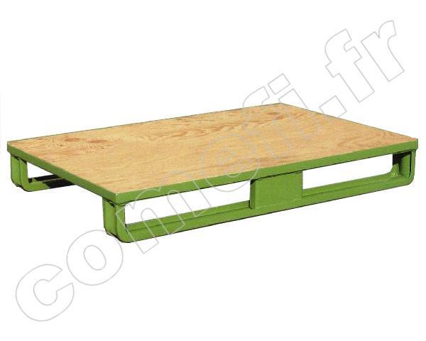 Palette tôle emboutie 1000Kg  2 patins  Plancher bois  1200 x 800 ~ Poids Palette Bois